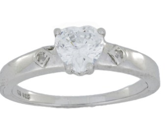 1 Ct Zirconia & Diamond Heart Ring .925 Sterling Silver Rhodium Finish