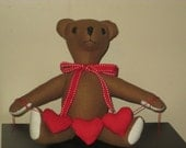 Handmade Valentine Teddy Bear with String of Hearts
