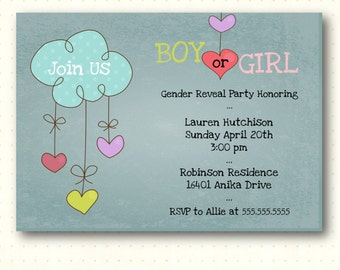Gender Reveal Invitation, hearts, clouds, chalkboard, boy, girl, party, reveal, digital, printable, invite GR1429