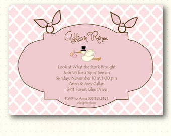Sip and See Invitation, sip n see, girl, pink, quatrefoil, hearts, stork, sprinkle, baby shower, digital, printable, invite, SS1443