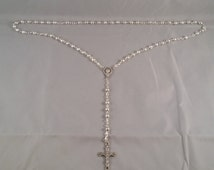 Silver Rosary Beads Hand Made Silver Plate Rosary Beads
