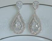 Crystal Wedding Earrings Bridal Jewelry Large Teardrop Earrings Wedding Chandielier Earrings