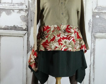 Sale Khaki Green and Red Linen Floral Tunic Dress Upcycled Clothing Eco Fashions