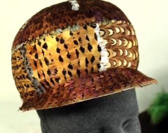 Superb Vintage Mid-Century Mod Newsboy Pheasant Feathered Ladies Hat