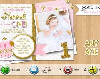 Princess Birthday Invitation, 1st Birthday, Gold and Pink, Princess Party Invitation, Glitter Invitation , Style 10 - Any Age, YOU PRINT