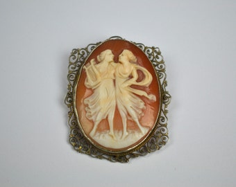 1930s/40s Vintage Cameo Brooch Silver Filigree with Two Graces