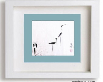 On Typha Pond - signed print -m of sumi-e egrets