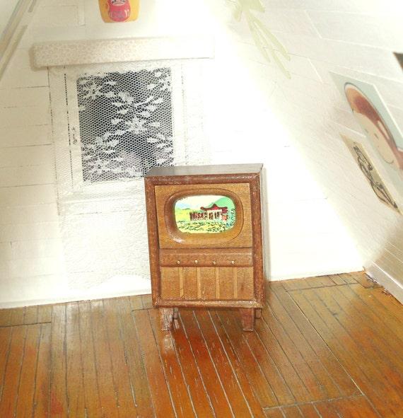 Dollhouse Miniatures Tv: Miniature Dollhouse Vintage Retro Television Set