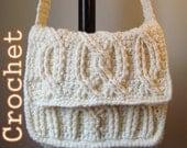 PDF Crochet Pattern - Alpine Cable Messenger Bag Laptop Bag - Instant Download