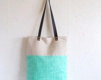 Green tote, Linen tote bag, leather handles, colorblock tote bag, summer tote bag,turquoise green tote bag, beach tote bag