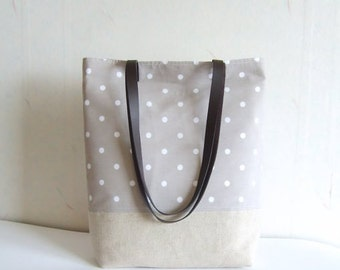 Polka dot tote bag with real leather handles, Linen and cotton tote bag, Casual tote bag, Bridesmaid bag purse, Canvas tote bag, Office bag