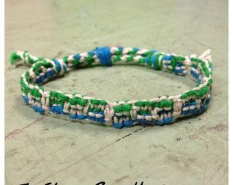 Macramé  Hemp Bracelet with Green Blue and White Hemp Earth Natural Eco-Friendly