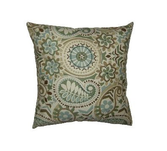 Throw Pillow Covers 20 X 20 : Throw Pillow Cover 20 x 20 inch Turquoise and Light Brown