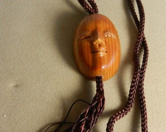 Necklace  Vintage Carved Wood Face