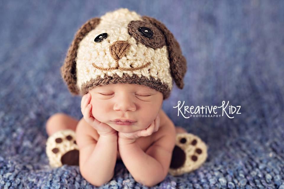 Baby Boy Hat Puppy Luv Newborn Baby Boy Crochet Doggy Hat And