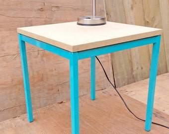 teal & wooden industrial looking side table / bedside table