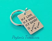 Daddy Keychain- Daddy Christmas Gift- Personalized Hand Stamped Keychain My Love My World My Daddy- Dad Key Chain- Gift for Dad- Father- Dad