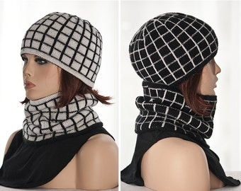 Hand knitted set: reversible hat and cowl (one hat+cowl with two usable sides), women, black and white, fair isle, winter, woolen.