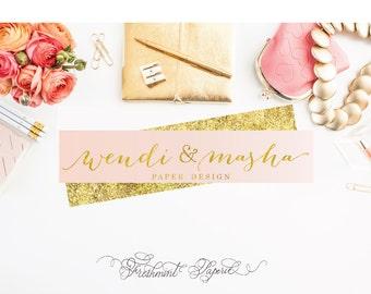 Custom logo -  gold logo  - calligraphy logo - business logo - business card - freshmint paperie