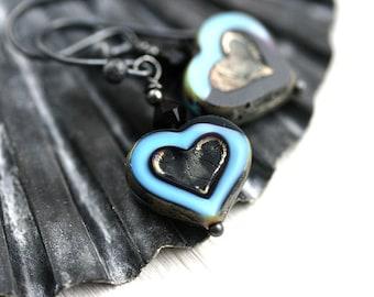 Blue Heart Earrings, Dangle Earrings, Valentine's gift, Blue and Black, Oxidized Sterling Silver Earrings, Romantic Earrings by MayaHoney