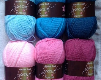 Stylecraft Special DK colour pack in pink and blue 6x100g balls of yarn 'Harlequin'