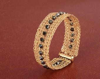 Black Swarovsky Narrow gold cuff bracelet. Wire crocheted bracelet. Knitted gold cuff. Elegant Handmade bracelet. Unique jewelry