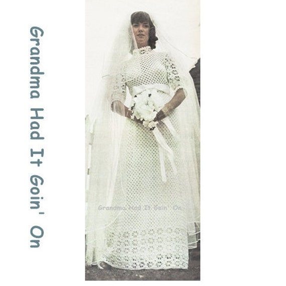 Crochet wedding dress pattern romantic 1970s vintage bridal for Wedding dress patterns free download