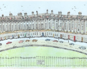 ROYAL CRESCENT BATH Painting, English Georgian Houses, Original hand painted Acrylic, Bath Screenprint England Architecture, Clare Caulfield