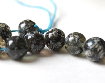 Lampwork Bead - Gray Beige Organic - 8 pcs Glass Lampwork Beads Set