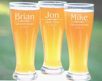 Personalized Groomsmen Gifts, Beer Glasses, Wedding Toasting Glasses, Pint Glasses, 4 Custom Beer Mugs, Gifts for Groomsmen, 16oz Glassware