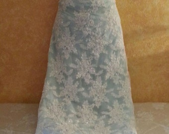 Sample Gown Listing-Vintage Style Ivory Beaded Sequin Pearl Lace Crystal Blue Sheath Bridal Wedding Gown Party Club Evening - (more colors)