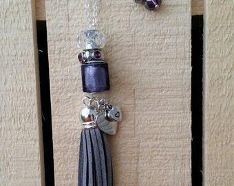Love Squared - Purple and Grey Beaded Tassel Necklace