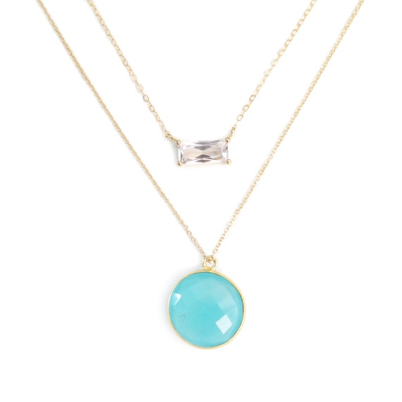Blue Chalcedony and Emerald Cut Glass Layered Necklace