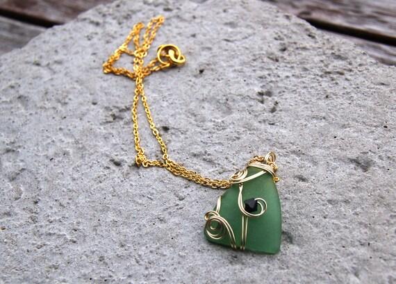 Collier Fait Main Fil De Fer : Collier en verre de plage pendentif par