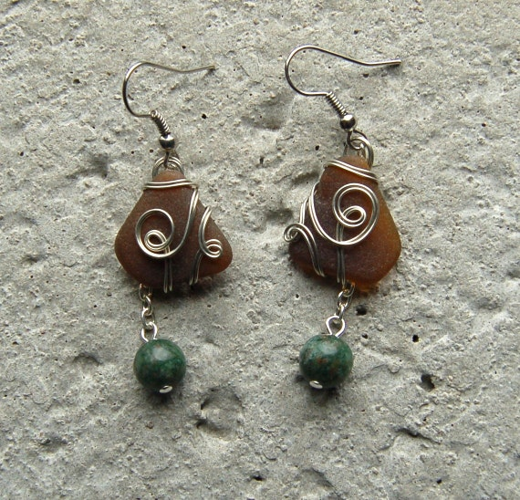 Wire Wrapped Sea Glass Earrings Recycled By