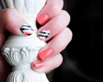 Ikat Hand Painted Fake Nails