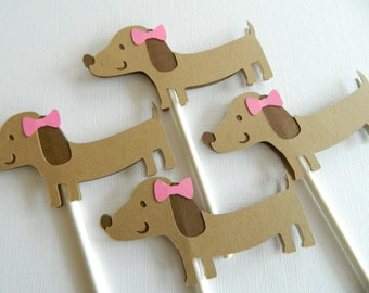 12 Girl Dachshund Cupcake Toppers Puppy Cupcake Toppers Puppy Birthday Party Puppy Decorations Dachshund Party • Set of 12