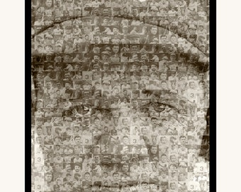 """Babe Ruth Mosaic Print Art Desgned Using 50 Various Player Photos of Babe Ruth- 11x14"""" Matted"""