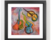 Music Art / Giclee Art Print of Watercolor Painting / Psychedelic Strings / Several Sizes (small to xlarge)