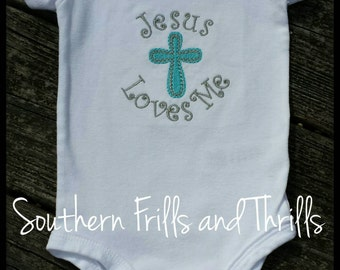 Embroidered Bodysuit, Cross Embroidered Bodysuit, Cross Onesie, Jesus Loves Me, Bodysuit, Embroidered Onesie
