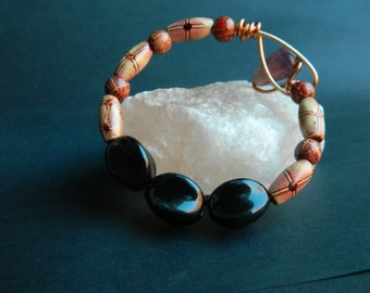 SMALL - Black Ceramic and Painted Wood Beaded Bracelet