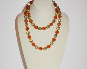 Joan Rivers Beaded Necklace - Amber Topaz and Gold 36 Inches                        - S1051
