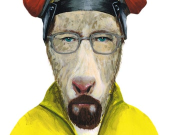 Walter White Goat Animal painting portrait painting Print Acrylic Painting Illustration Print wall art, saul,Heisenberg,  breaking bad