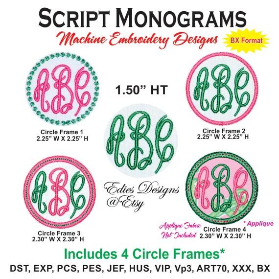 Script Monograms Machine Embroidery Designs BX Format Monogram