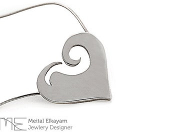 Heart Necklace, Heart Pendant in Sterling Silver - Wave Shape Silver Heart Necklace, Sterling Heart Necklace,Heart Necklace | Gift for her