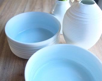 Small Serving Bowl, White Porcelain Pottery, Handmade