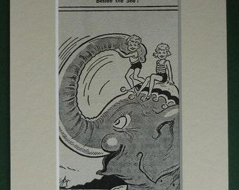 1950s Vintage Seaside Elephant Print Retro children's Art beach decor - Available Framed - Beach Print - Elephant Gift - Retro Seaside Art