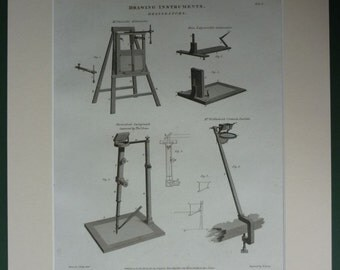 1812 Antique Engineering Print of Delineator Drawing Instrument by John Farey Jr Old Technical diagram, Rees' Clyclopaedia, Georgian decor