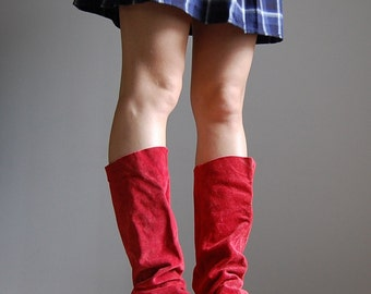 vintage 1970s red suede pirate boots / tall boho boots