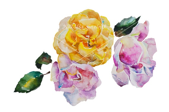 Pink and yellow roses digital download from original watercolor corner pattern in lilac and purple, cottage chic style painting clip art